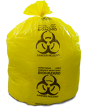 Yellow Healthcare Trash Bags with Infectious Linen Print