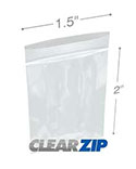 1.5 in x 2 in 2 Mil Small Clearzip® Lock Top Bags