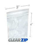 3 in x 4 in 2 Mil Clearzip® Lock Top Bags