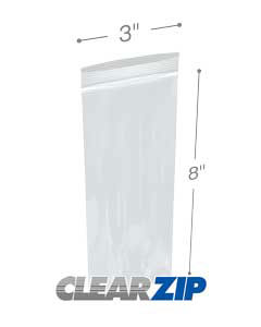 3 in x 8 in 2 Mil Clearzip® Lock Top Bags