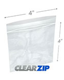 4 in x 4 in 2 Mil Clearzip® Lock Top Bags