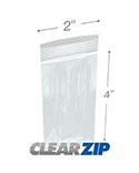 4 in x 7 in 2 Mil Clearzip® Lock Top Bags