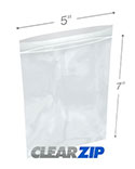 5 in x 7 in 2 Mil Clearzip® Lock Top Bags