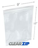9 in x 12 in 2 Mil Clearzip® Lock Top Bags