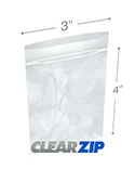 3 in x 4 in 4 Mil Clearzip® Lock Top Bags