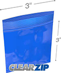 3 in x 3 in 2 mil Blue Reclosable Poly Bags