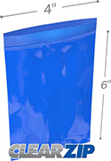 4 in x 6 in 2 mil Blue Reclosable Poly Bags