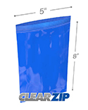 5 in x 8 in 2 mil Blue Reclosable Poly Bags