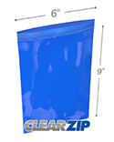 6 in x 9 in 2 mil Blue Reclosable Poly Bags