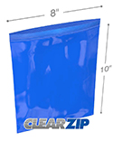 8 in x 10 in 2 mil Blue Reclosable Poly Bags