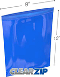 9 in x 12 in 2 mil Blue Reclosable Poly Bags