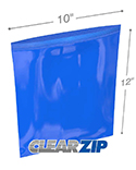 10 in x 12 in 2 mil Blue Reclosable Poly Bags