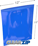 12 in x 15 in 2 mil Blue Reclosable Poly Bags