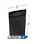 2 in x 3 in 2 mil Black Reclosable Poly Bags