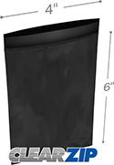 4 in x 6 in 2 mil Black Reclosable Poly Bags