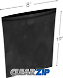 8 in x 10 in 2 mil Black Reclosable Poly Bags