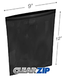 9 in x 12 in 2 mil Black Reclosable Poly Bags
