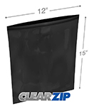 12 in x 15 in 2 mil Black Reclosable Poly Bags