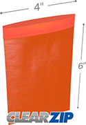 4 in x 6 in 2 mil Red Reclosable Poly Bags