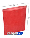 10 in x 12 in 2 mil Red Reclosable Poly Bags