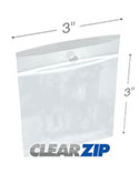 3 in x 3 in Hang Hole 2 Mil Clearzip® Lock Top Bags
