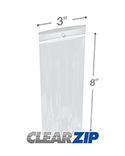 3 in x 8 in Hang Hole 2 Mil Clearzip® Lock Top Bags