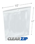 10 in x 12 in Hang Hole 2 Mil Clearzip® Lock Top Bags