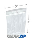 3 in x 4 in Hang Hole 4 Mil Clearzip® Lock Top Bags