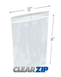 5 in x 8 in Hang Hole 4 Mil Clearzip® Lock Top Bags