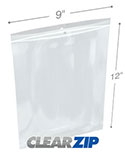 9 in x 12 in Hang Hole 4 Mil Clearzip® Lock Top Bags
