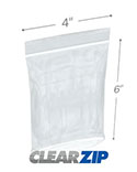 4 in x 6 in Tamper Evident 2 Mil Clearzip® Lock Top Reclosable Bags