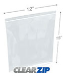 12 in x 15 in Tamper Evident 2 Mil Clearzip® Lock Top Reclosable Bags