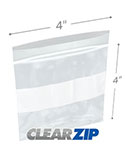 4 in x 4 in White Block 2 Mil Clearzip® Lock Top Bags