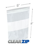 5 in x 8 in White Block 2 Mil Clearzip® Lock Top Bags