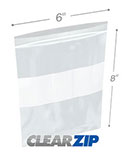6 in x 8 in White Block 2 Mil Clearzip® Lock Top Bags