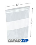6 in x 9 in White Block 2 Mil Clearzip® Lock Top Bags