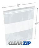 8 in x 10 in White Block 2 Mil Clearzip® Lock Top Bags