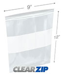 9 in x 12 in White Block 2 Mil Clearzip® Lock Top Bags