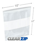 10 in x 12 in White Block 2 Mil Clearzip® Lock Top Bags