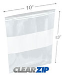 10 in x 13 in White Block 2 Mil Clearzip® Lock Top Bags