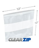 12 in x 12 in White Block 2 Mil Clearzip® Lock Top Bags