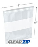 12 in x 15 in White Block 2 Mil Clearzip® Lock Top Bags