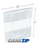 13 in x 15 in White Block 2 Mil Clearzip® Lock Top Bags