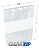 13 in x 18 in White Block 2 Mil Clearzip® Lock Top Bags