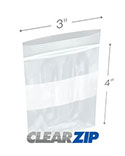 3 in x 4 in White Block 4 Mil Clearzip® Lock Top Bags