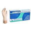 Ammex Ivory Vinyl Gloves - Large
