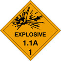 4 in x 4 in D.O.T. Explosives 1.1A HazMat Labels