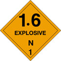 4 in x 4 in D.O.T. Explosives 1.6N HazMat Labels