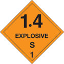 4 in x 4 in D.O.T. Explosives 1.4S HazMat Labels