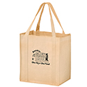 Screen Printed 12 x 8 x 13 + 8 Tan Color Non Woven Totes
